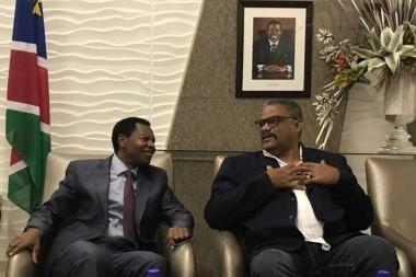 Jefe de Estado de Namibia, Hage Geingob, recibe al presidente del Tribunal Supremo Popular  de Cuba, Rubén Remigio Ferro